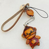 Cotton Cord Mobile Chain with Cowhide Pendants, Monkey, Length:6-Inch, Sold by Strand