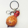 Iron Key Chains with Cowhide Pendants, Width:35mm, Length:4.5-inch, Sold by PC