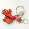 Iron Key Chains with Cowhide Pendants, Chicken, Width:70mm, Length:3.2-inch, Sold by PC