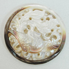 Carved Shell Pendant, Flat Round 35mm, Sold by PC