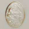 Carved Shell Pendant, Flat Oval 40x38mm, Sold by PC