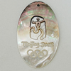 Carved Shell Pendant, Flat Oval 30x48mm, Sold by PC