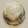 Carved Shell Pendant, 44x49mm, Sold by PC