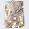 Shell Pendant, Rectangle, 37x55mm, Sold by PC