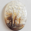 Carved Shell Cabochons, Flat Oval, 21x28mm, Sold by PC
