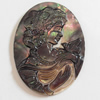 Carved Shell Cabochons, Flat Oval, 28x38mm, Sold by PC