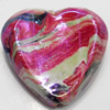 Acrylic Beads Plated AB, Heart, 27x30mm, Sold by Bag