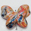 Acrylic Beads Plated AB, Butterfly, 33x27mm, Sold by Bag