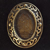 Zinc Alloy Cabochon Settings, Outside diameter:18x22mm, Interior diameter:10x14mm,Sold by Bag