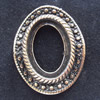 Zinc Alloy Cabochon Settings, Outside diameter:22x27mm, Interior diameter:13x18mm,Sold by Bag