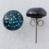 Dichroic Glass Earrings, Flat Round 10mm, Sold by Group