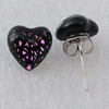 Dichroic Glass Earrings, Heart 10mm, Sold by Group