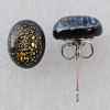 Dichroic Glass Earrings, Oval 10x8mm, Sold by Group