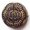 Antique Bronze Acrylic Beads, Flat Round, 23mm, Sold by Bag