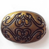 Antique Bronze Acrylic Beads, Flat Oval, 24x17mm, Sold by Bag