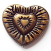 Antique Bronze Acrylic Beads, Heart, 29x25mm, Sold by Bag