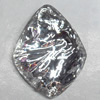 Resin Silver Foil Zircon Cabochons with Hole, 18x23mm, Sold by Bag