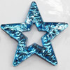 Resin Silver Foil Zircon Cabochons with Hole, Star, 38mm, Sold by Bag
