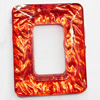 Resin Silver Foil Zircon Cabochons with Hole, Rectangle, 27x34mm, Sold by Bag