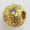 Zinc Alloy with Rhinestone Beads,8mm,Sold by PC