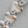Printing Ceramics Beads, Heart 15x15mm, Sold by Bag