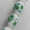 Printing Ceramics Bead, Oval 13x18mm, Sold by Bag
