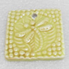 Ceramics Pendants, Square, 39mm Hole:3mm, Sold by PC