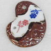 Ceramics Pendants, 48x66mm Hole:4mm, Sold by PC