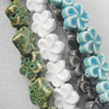 Ceramics Beads, Mix Color, Flower 19mm, Sold by Bag