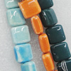 Ceramics Beads, Mix Color, Square 14mm, Sold by Bag