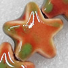 Ceramics Beads, Star, 15mm Hole:2.5mm, Sold by PC