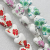 Printing Ceramics Beads, Mix Color, Heart 15x15mm, Sold by Bag