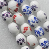 Printing Ceramics Beads, Mix Color, Oval 12x15mm, Sold by Bag