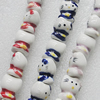 Printing Ceramics Beads, Mix Color, Cat 14x17mm, Sold by Bag