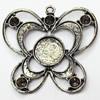 Zinc Alloy Pendant Settings, Outside diameter:45x44mm Interior diameter:13mm, Sold by PC