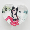 Resin Cabochons, No-Hole Jewelry findings, Heart 28x24mm, Sold by Bag