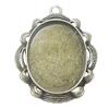 Zinc Alloy Pendant Settings, Outside diameter:34x42mm Interior diameter:25x30mm, Sold by Bag