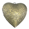 Iron Locket Photo Pendant, Heart Outside diameter:39x41mm Inside diameter:28x26mm, Sold by Bag