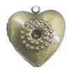 Iron Locket Photo Pendant, Heart Outside diameter:23x25mm Inside diameter:17x14mm, Sold by Bag