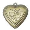Iron Locket Photo Pendant, Heart Outside diameter:19x22mm Inside diameter:13x10mm, Sold by Bag