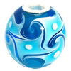 Lampwork Glass 925 Silver Beads, 20mm, Hole:4.5mm, Sold by PC