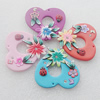 Pottery Clay Pendants/Earring charm, Mix Color, Heart 46x43mm, Sold by PC