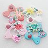 Pottery Clay Pendants/Earring charm, Mix Color, Flower 44mm, Sold by PC