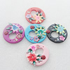 Pottery Clay Pendants/Earring charm, Mix Color, Flat Round 41mm, Sold by PC