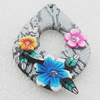 Pottery Clay Pendants/Earring charm, Teardrop 39x51mm, Sold by PC