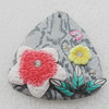 Pottery Clay Pendants/Earring charm, Triangle 37x40mm, Sold by PC