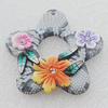 Pottery Clay Pendants/Earring charm, Flower 44mm, Sold by PC
