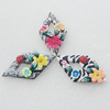 Pottery Clay Pendants/Earring charm, Mix Color, Diamond 29x54mm, Sold by Group