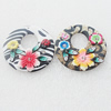 Pottery Clay Pendants/Earring charm, Mix Color, Flat Round 41mm, Sold by Group