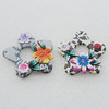 Pottery Clay Pendants/Earring charm, Mix Color, Flower 44mm, Sold by Group